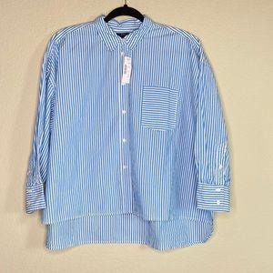 J. Crew oversized poplin stripe button up shirt